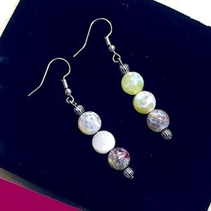 🆕Beautiful Handcrafted Colorful Natural Gemstone Flower Agates Beaded Earrings